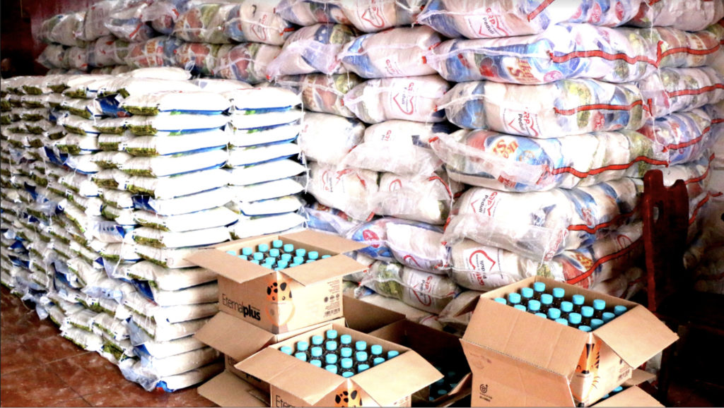 Bags of rice and mineral water to be given out to the underprivileged communities